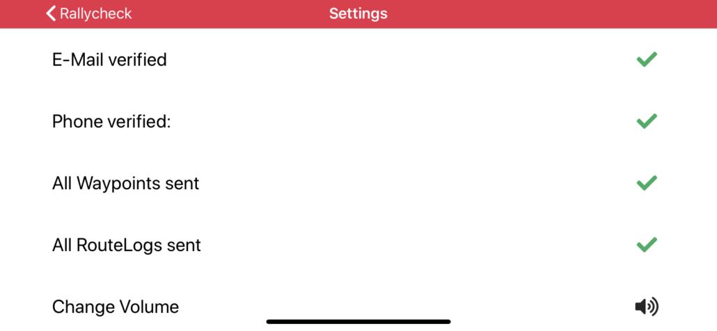 Rallycheck settings menu