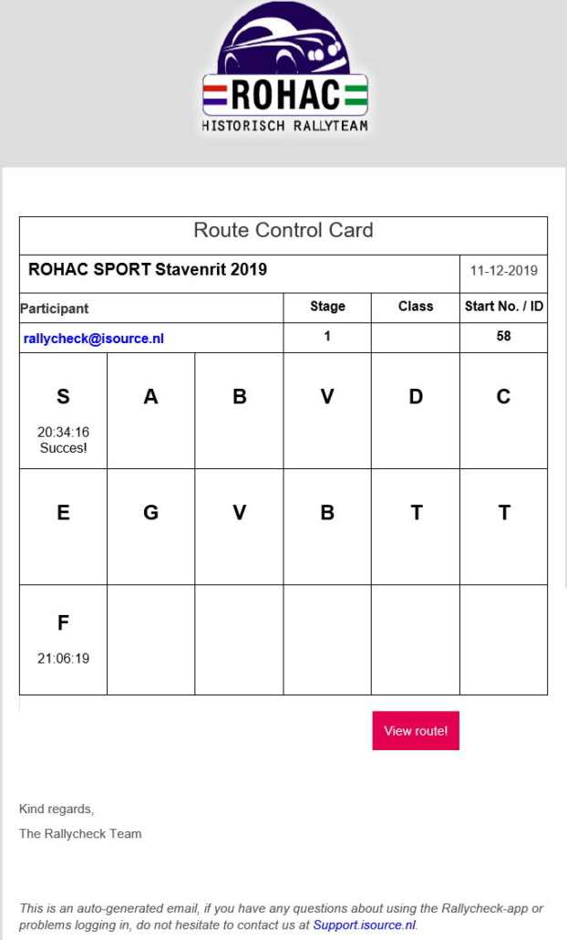 Route Control Card